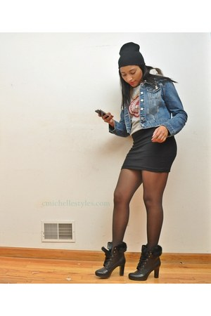 Worthington boots - Love Culture jacket - Forever 21 skirt - HUE stockings