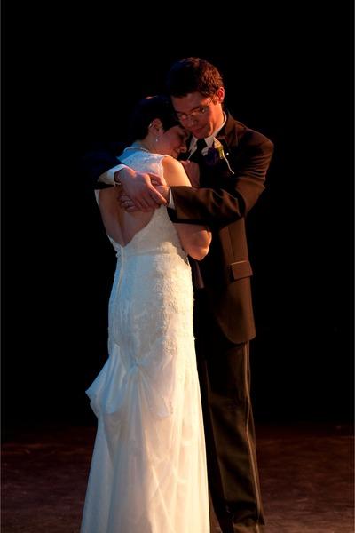deep purple Payless shoes - ivory lace Davids Bridal dress