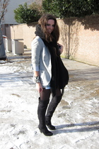 gray Zara blazer - gray Zara shirt - blue Zara shorts - black Zara boots