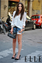 black zipper Zara bag - light blue denim Zara shorts - off white Zara blouse