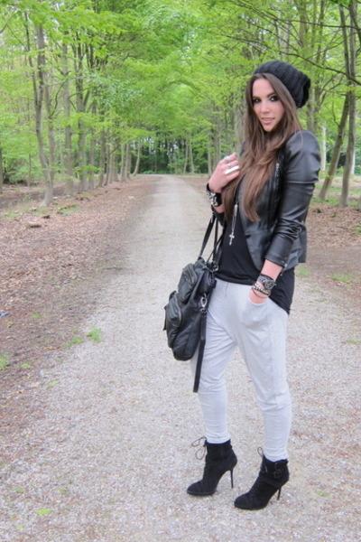 black SuperTrash jacket - black lace up ankle Zara boots