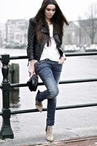 beige leopard boots - blue curve id Levis jeans - black leather jacket