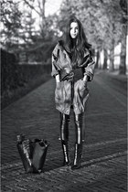 black leather look pants - black Giuseppe Zanotti boots - green parka jacket