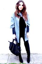 H&M coat - asos top - Zara boots - Zara - Bershka pants