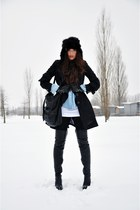 black tigh high Topshop boots - black trench H&M coat - black faux fur H&M hat