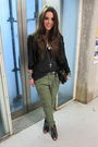 Green-zara-pants-black-muubaa-jacket-black-h-m-boots