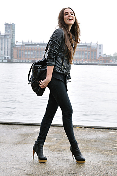 black Zara jacket - black COS boots - black Cheap Monday jeans