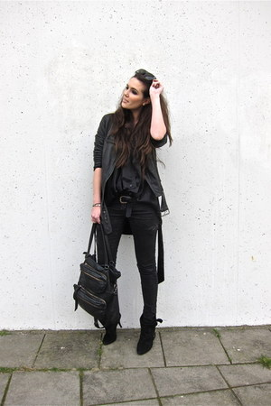 black Givenchy shoes - black Topshop jeans - black Zara jacket - black Winter Ka