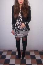 black overknee Zara boots - black tunic H&M dress
