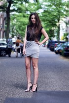 heather gray wrap skirt skirt - black cape heels Alexander Wang heels