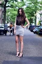 heather gray wrap skirt skirt - black cape heels Alexander Wang heels