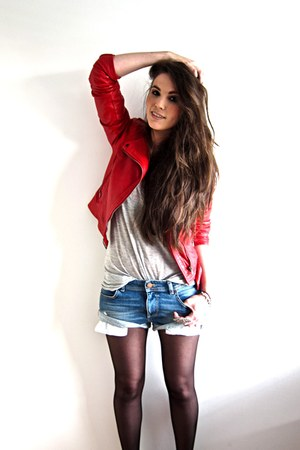 red leather biker Zara jacket - light blue denim Zara shorts - heather gray H&amp;M 