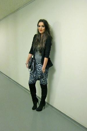 black overknee Topshop boots - black Zara blazer