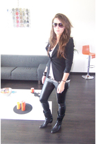 Zara blazer - H&M t-shirt - Zara pants - vintage boots