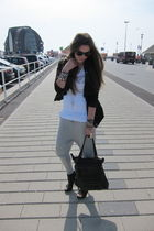 black Muubaa jacket - silver Vila pants - black Zara shoes - Mango