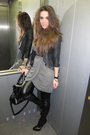 gray buy at wwwqueenswardrobecom dress - black warehouse jacket - black Topshop
