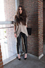 Black-leather-muubaa-pants-light-pink-h-m-jumper-black-pointed-toe-zara-heel