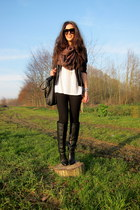 black Zara jacket - black Zara boots - black H&M Trend leggings - white t by ale