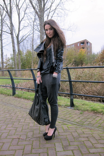 charcoal gray Aaiko pants - black asos jacket - black H&M shoes
