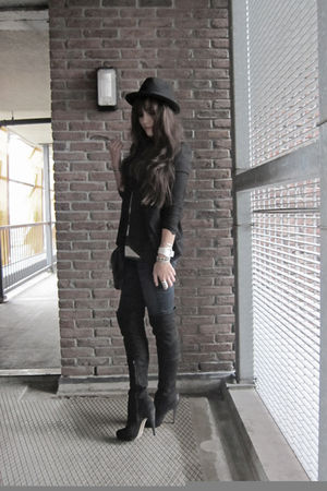 black Topshop boots - blue Hudson jeans - black Queens Wardrobe jacket - black T