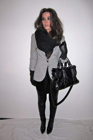 gray jersey Zara blazer - black annie ankle Topshop boots