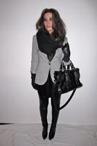 gray jersey Zara blazer - black annie ankle Topshop boots