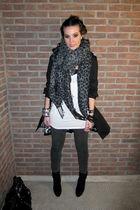 black Zara boots - gray Vila leggings - black H&M coat