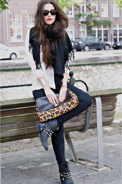 black D-Co Copenhagen boots - black Cheap Monday jeans - white Zara blouse