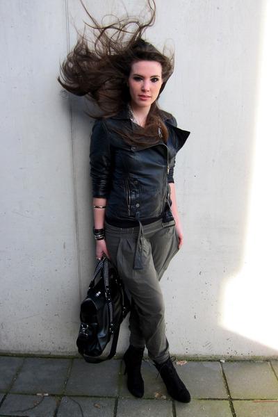 black leather biker Zara jacket - black suede ankle Zara boots