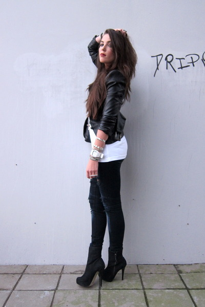 black Topshop shoes - blue Vintage1 jeans - black leather SuperTrash jacket