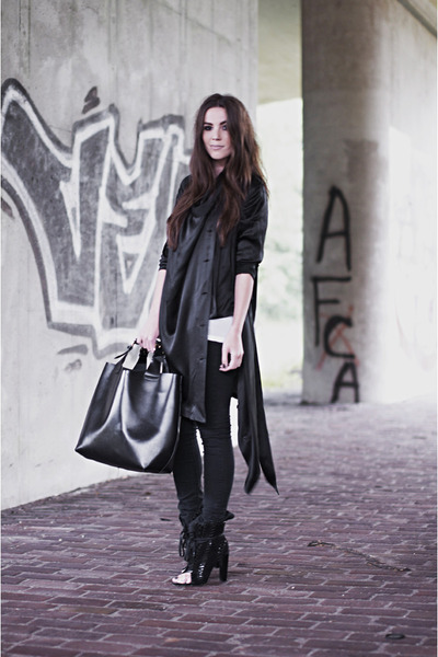 black freja Alexander Wang boots - black Cheap Monday jeans - black Zara bag - b