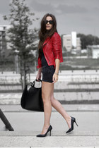 leather jacket Zara jacket - Zara bag - denim diy h&m divided shorts - pointed Z