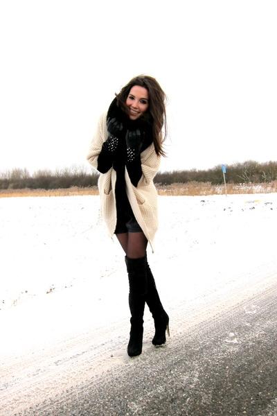 Topshop boots - MinkPink cardigan - Zara shorts