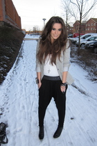 black wwwwestragscom pants - gray Zara blazer - black H&M boots - white wwwwestr