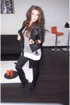 Zara jacket - Zara t-shirt - Zara leggings - vintage boots