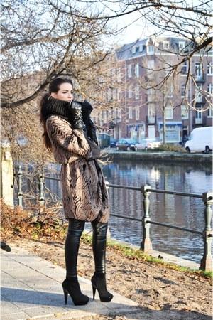 black Topshop boots - brown SuperTrash cardigan - black Topshop leggings - black