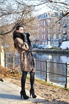 black Topshop boots - brown SuperTrash cardigan - black Topshop leggings - black