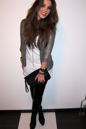 black Zara boots - gold sequined Topshop blazer - black studded clutch asos bag
