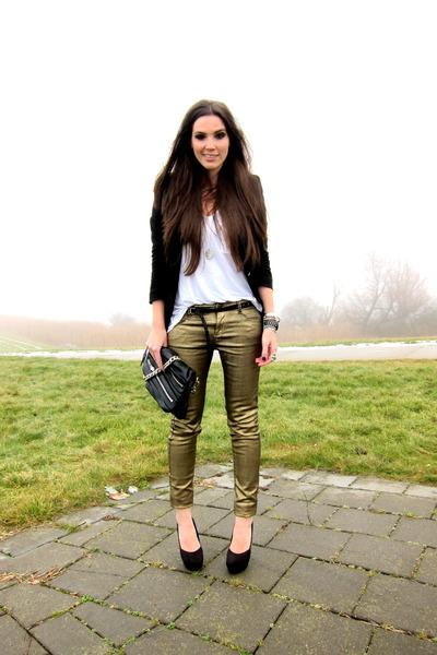 black H&M heels - gold Mango jeans - black Zara blazer