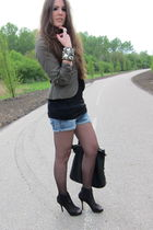 green H&M jacket - black Zara shoes - blue Zara shorts