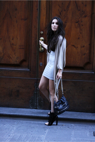 tan COS cardigan - black Alexander Wang boots - heather gray mbym dress