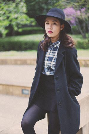 coat AgnesB coat - felt vintage hat - H&M shirt - mini skirt H&M skirt