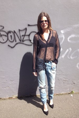 mesh Monki bra - Lee jeans - oversized H&M shirt - Zara heels