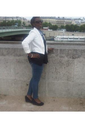 H&M blazer - Primark jeans - black H&M wedges