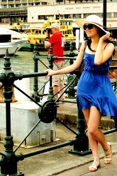 Blue Blue Waterfall Bardot Dresses, Dotti Hats, Dark Brown ...