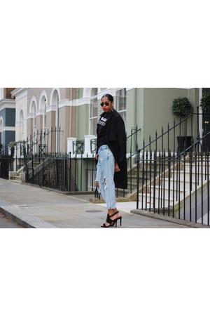 black black addicted pull&bear sweatshirt - sky blue ripped pull&bear jeans
