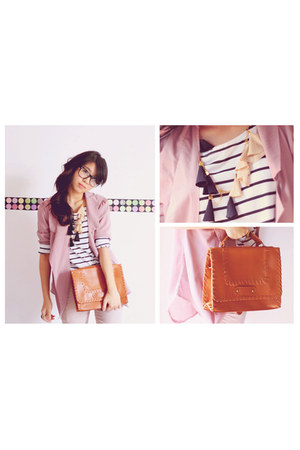 chiffon blouse blazer - vintage bag - zara stripes top - vogel cream ruffle neck