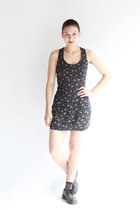 black floral Caesar Pony vintage dress - black three hole Doc Marten shoes