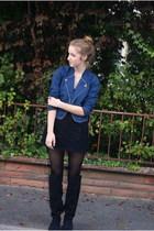 Zara boots - Urban Outfitters jacket - Topshop dress