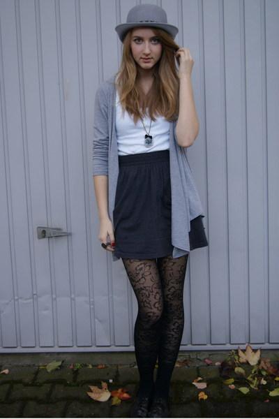gray Urban Outfitters hat - black Zara shoes - gray Zara jacket